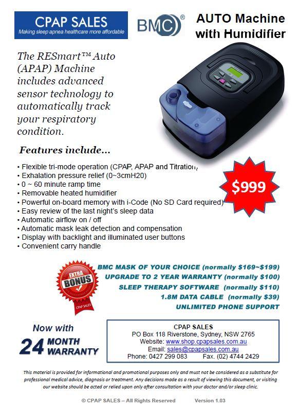 Auto Machine with Humidifier $999 with $450 bonus value